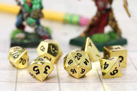 Miniature Metal RPG Dice Gold