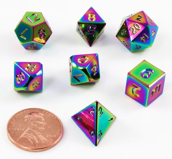 Miniature Metal RPG Dice Rainbow