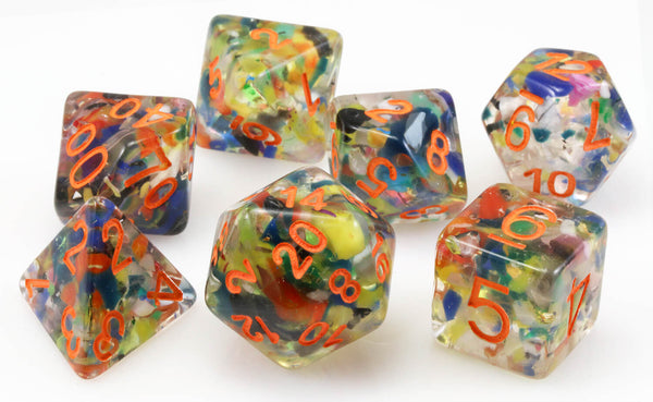 Mosaic Dice Orange Numbers