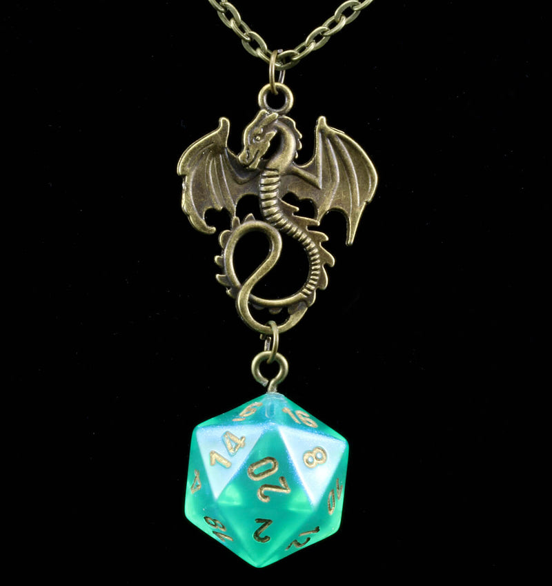 Borealis d20 Necklace Light Green