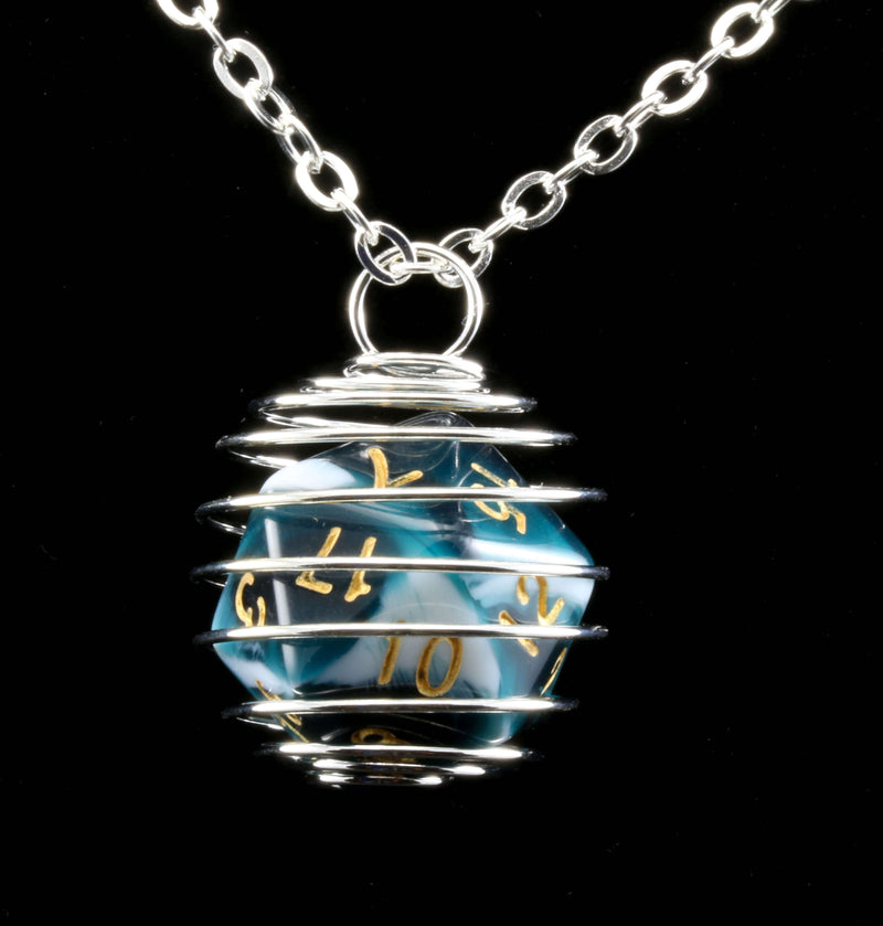 Mystic Teal D20 Necklace