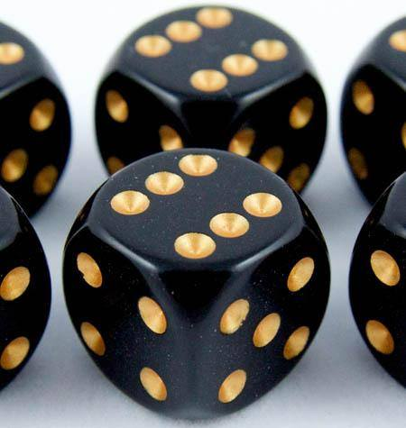 Opaque D6 Dice Black Gold