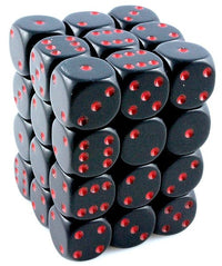 Opaque D6 Mini Dice Black Red