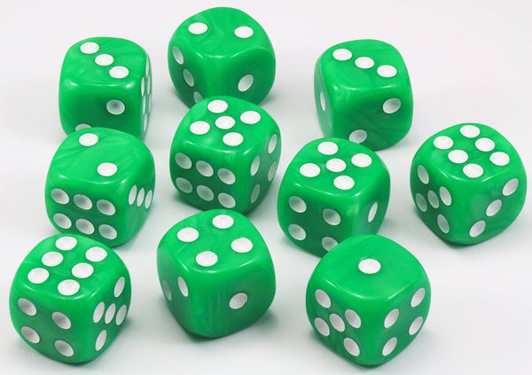 Green dice six sided