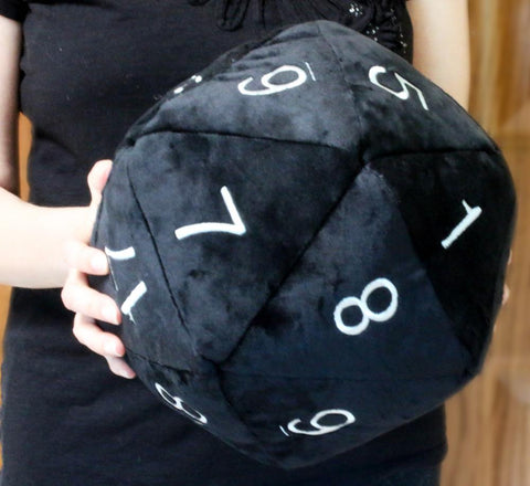 Jumbo Plush D20 (Black With White Numbers)
