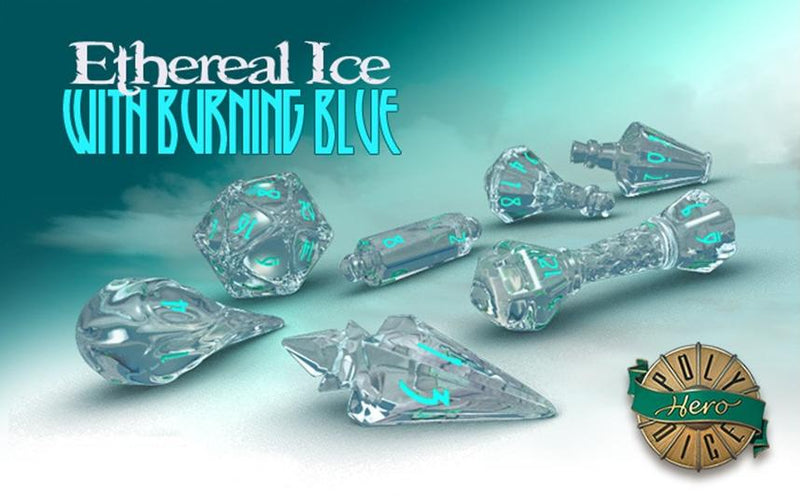 Polyhero Wizard Dice Ethereal Ice and Burning Blue