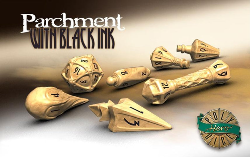 Polyhero Wizard Dice Parchment and Black