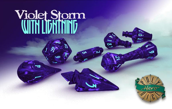 Polyhero Wizard Dice Violet Storm with Lightning