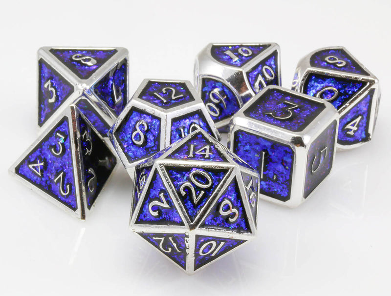 Prismatic dice blue and silver 2