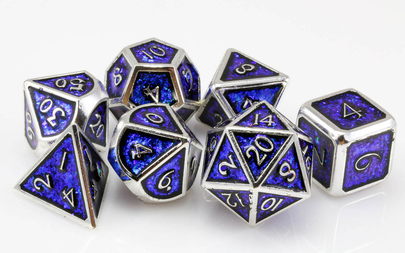 Prismatic dice blue and silver