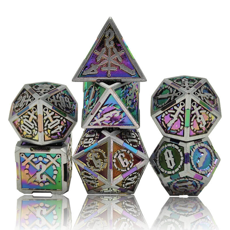 Rainbow and Steel Metal Dice