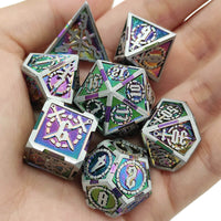 Rainbow and Steel Metal Dice 2