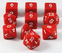 Opaque Dice (Red) | 10pc RPG Role Playing Game Dice Set