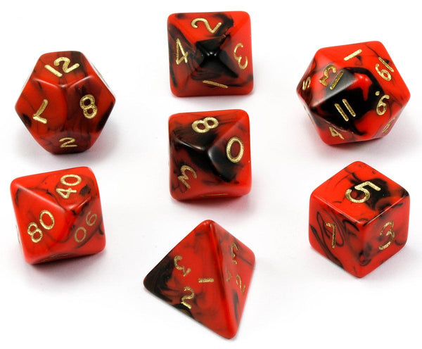 Special Mix D&D Dice Red Black