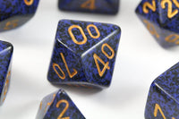 RPG Dice Speckled Golden Cobalt