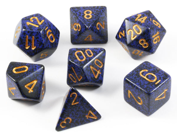 D&D Dice Speckled Golden Cobalt