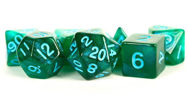 Stardust Dice (Green With Blue Numbers)
