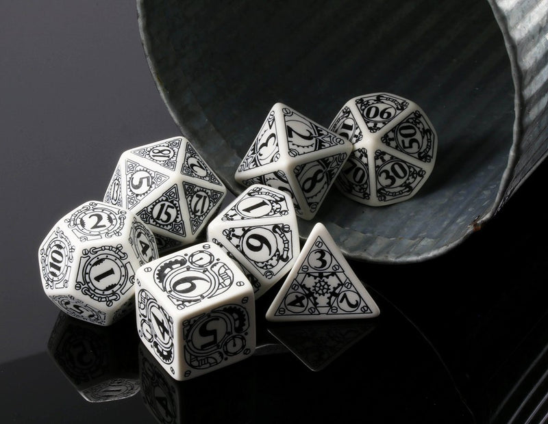 Steampunk Dice (White) | RPG Role Playing Game Dice Set