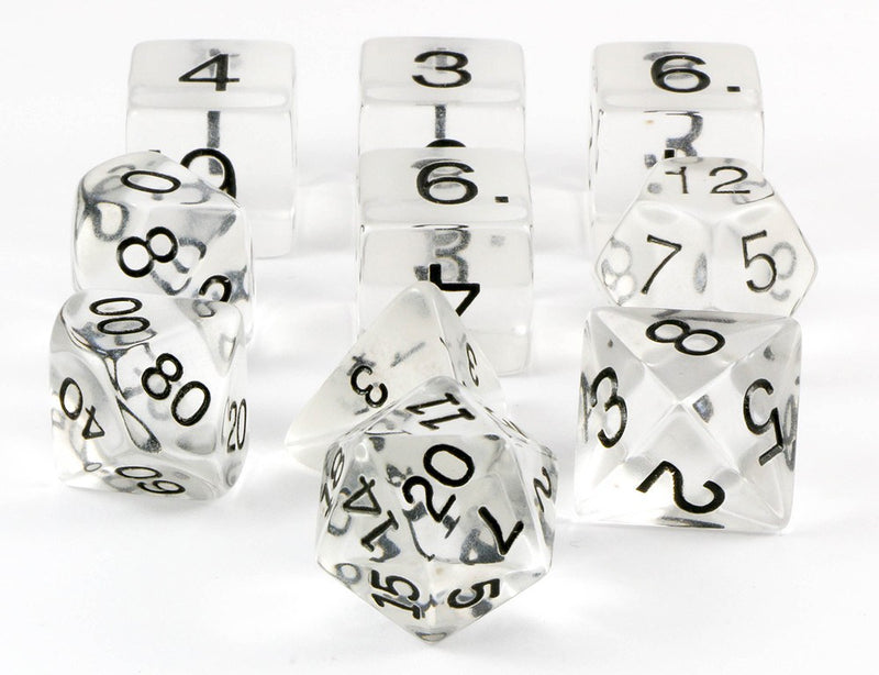 clear rpg dice 10 piece set