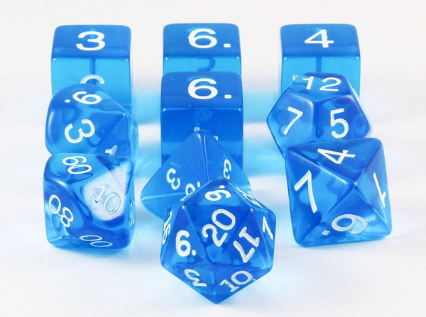 Translucent Dice Blue 10pc Set