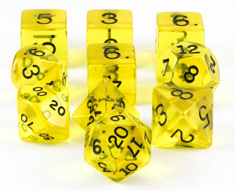 translucent dice yellow 10pc set