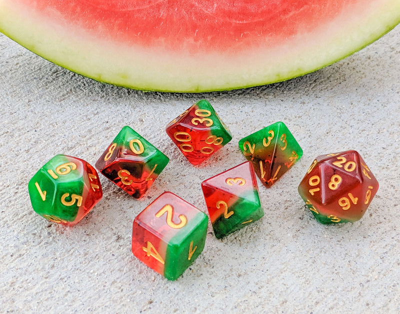 HD Fruit Poly 7 Dice RPG Set Watermelon Red Green White Pathfinder D/&D Rainbow