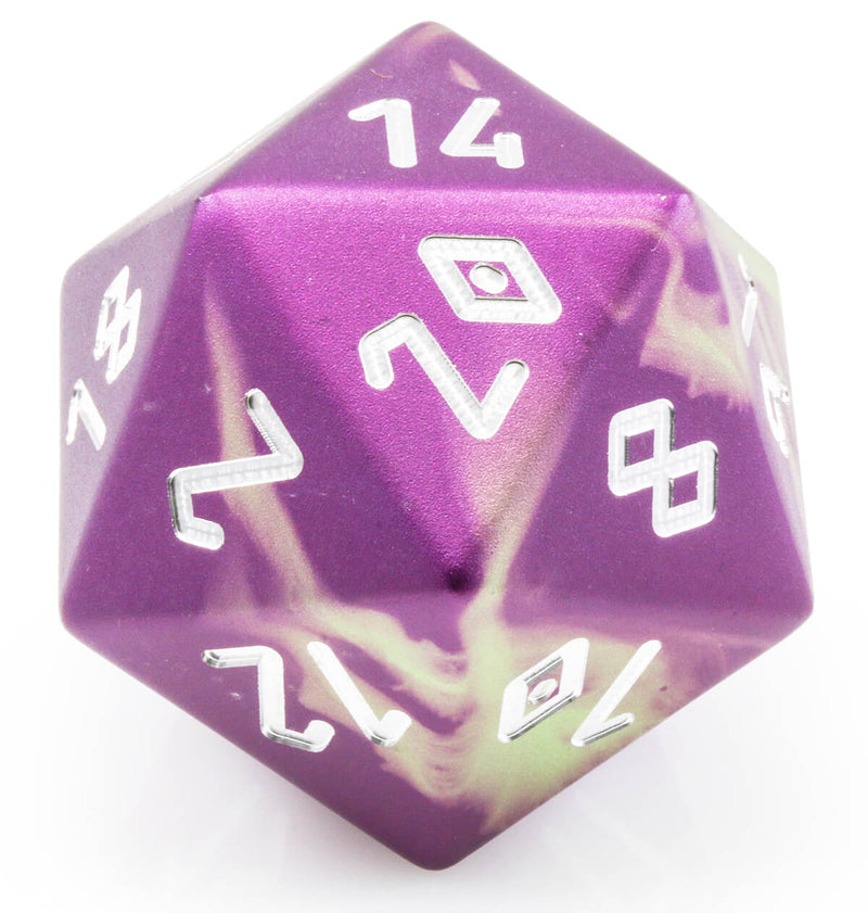 Giant d20 aluminum purple green