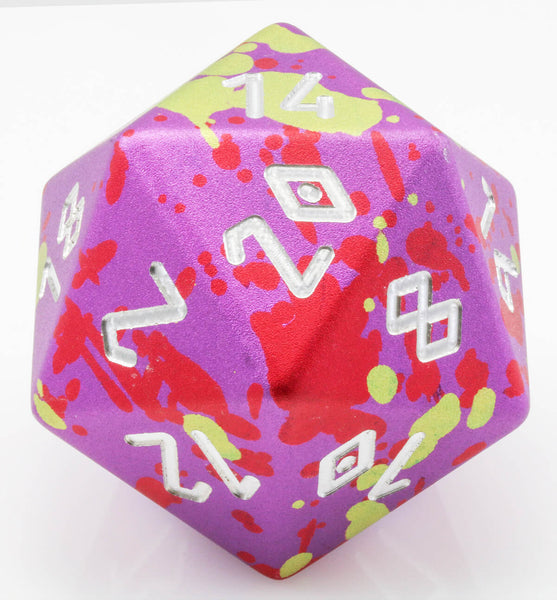 Giant d20 aluminum purple red