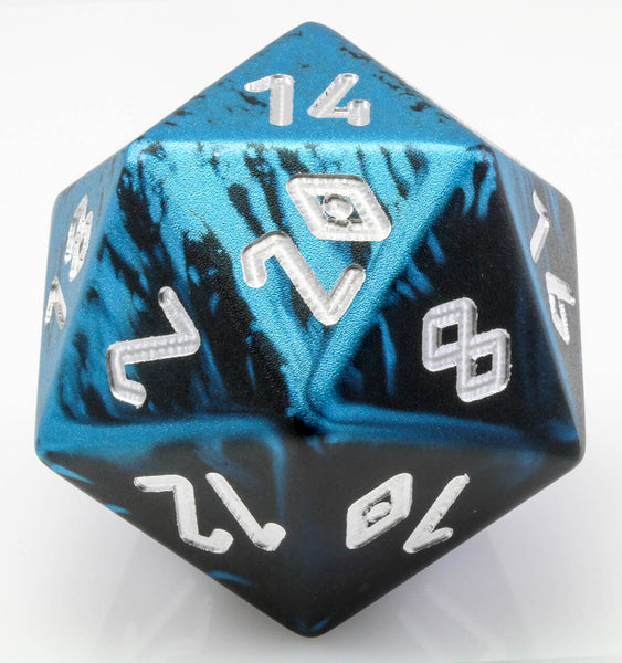 Giant d20 aluminum black blue