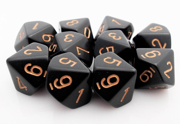 D10 Dice Black Gold
