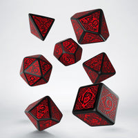 Celtic Dice (Black With Red) | RPG Role Playing Game Dice Set