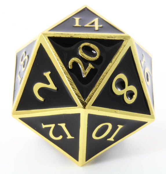 Giant d20 Enamel Black and Gold