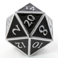 Giant d20 Enamel Black and Silver