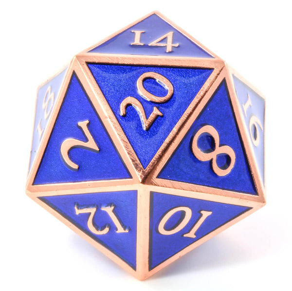 Giant d20 Enamel Blue and Copper