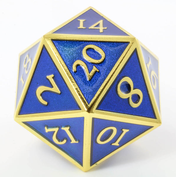 Giant d20 Enamel Blue and Gold