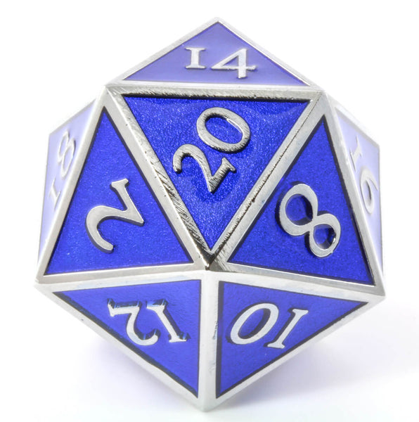 Giant d20 Enamel Blue and Silver