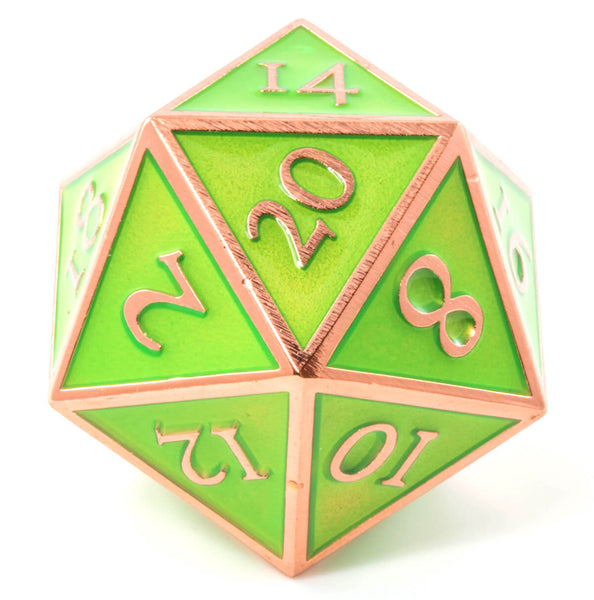 Giant d20 Enamel Green and Copper