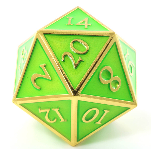 Giant d20 Enamel Green and Gold