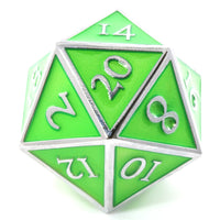 Giant d20 Enamel Green and Silver
