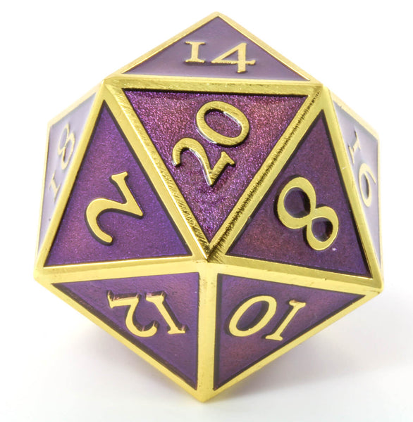 Giant d20 Enamel Purple and Gold
