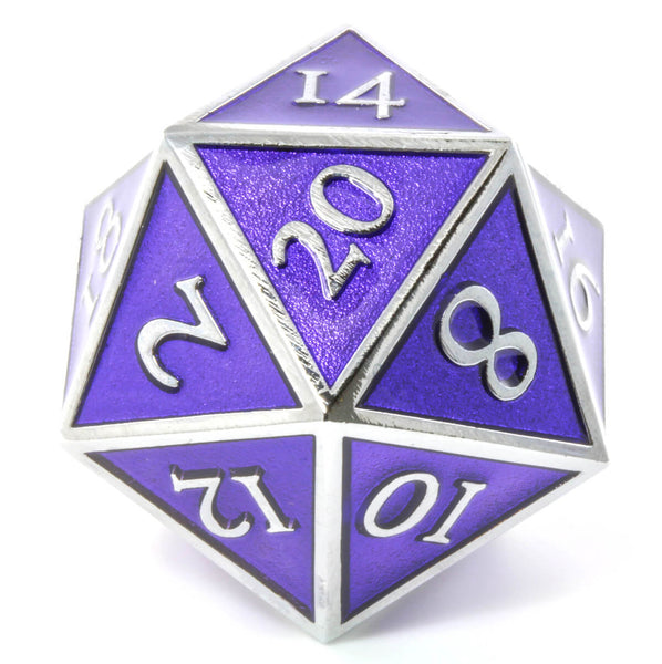 Giant d20 Enamel Purple and Silver