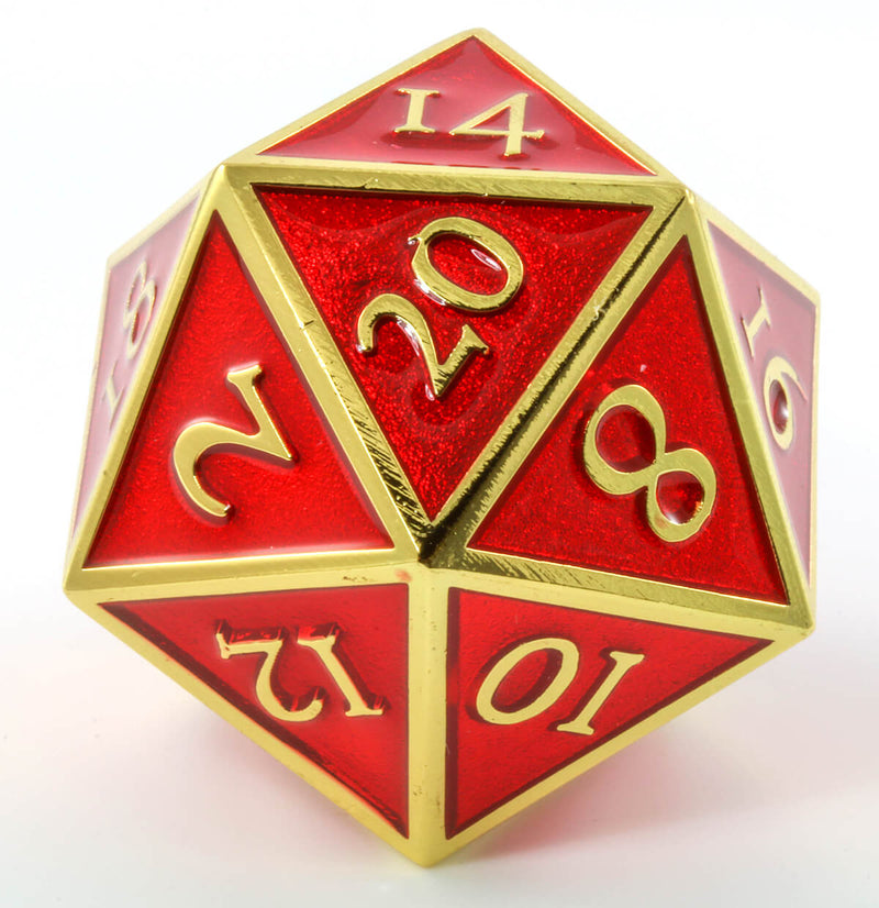 Giant d20 Enamel Red and Gold