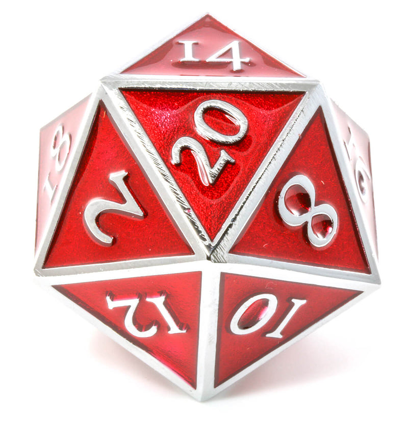 Giant d20 Enamel Red and Silver