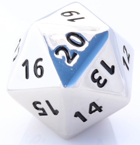 metal giant d20 silver dice