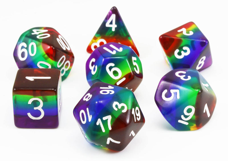 Rainbow Translucent D&D Dice