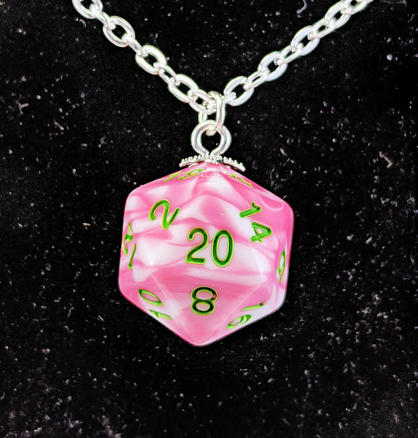 Pink d20 Necklace RPG