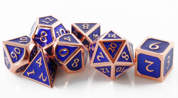 Blue and copper enamel dice