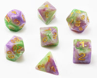 Shadowstone dice purple and green