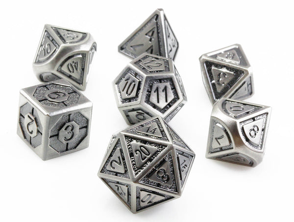 Assassin D&D Dice Antique Silver