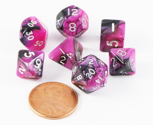 mini toxic dice pink black